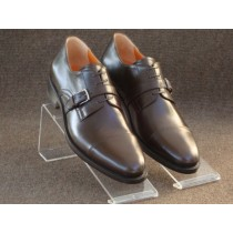 Coffee Loafers with 24k White Gold Buckle over Strings