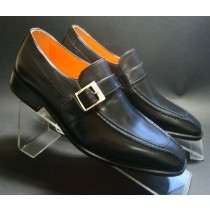 Black Dress Shoe with Platinum Buckle